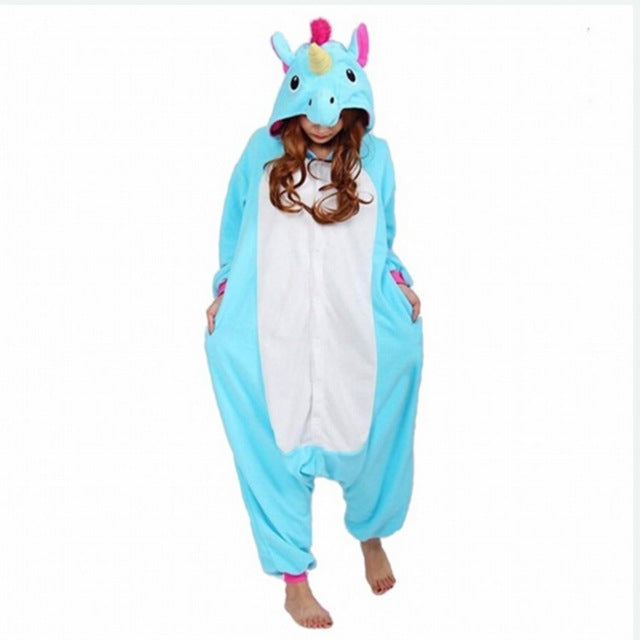 Winter Unisex Adult Men Women Pajamas Costumes Animal Onesie Sleepwear Stitch Zebra Panda Totoro Bear Bat Unicorn Pig Dinosaur-hipnfly-Blue Tenma-S-hipnfly