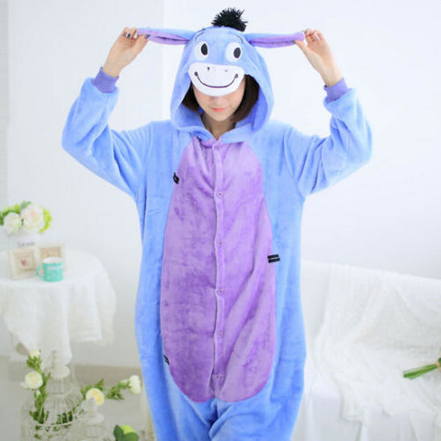 Winter Unisex Adult Men Women Pajamas Costumes Animal Onesie Sleepwear Stitch Zebra Panda Totoro Bear Bat Unicorn Pig Dinosaur-hipnfly-Eeyore Donkey-S-hipnfly