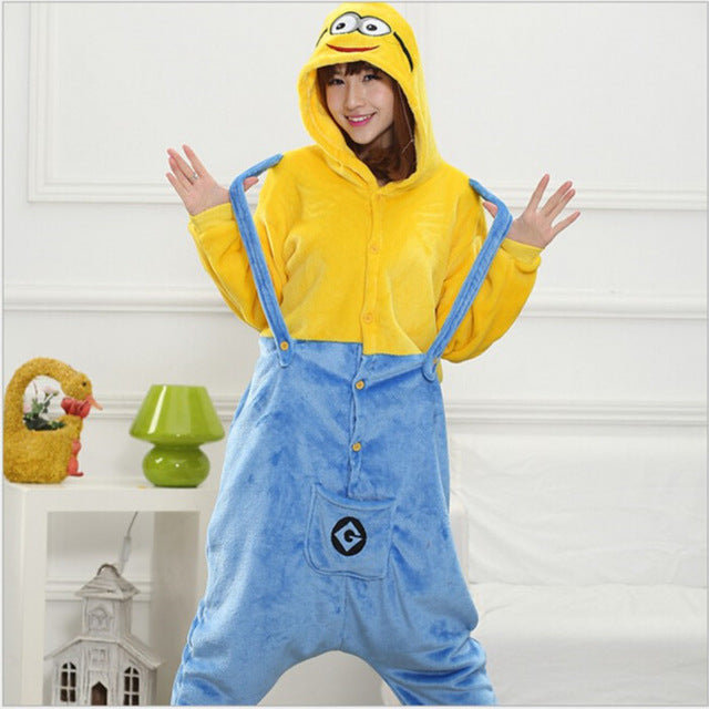 Winter Unisex Adult Men Women Pajamas Costumes Animal Onesie Sleepwear Stitch Zebra Panda Totoro Bear Bat Unicorn Pig Dinosaur-hipnfly-Minions-S-hipnfly