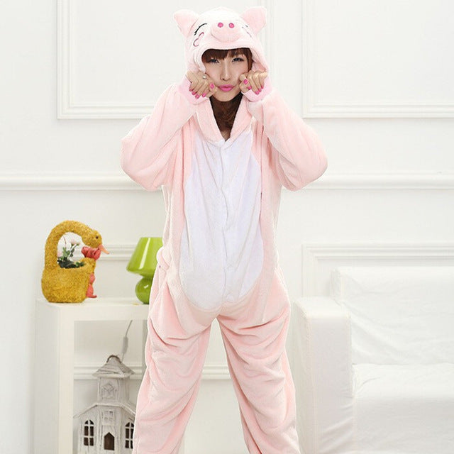 Winter Unisex Adult Men Women Pajamas Costumes Animal Onesie Sleepwear Stitch Zebra Panda Totoro Bear Bat Unicorn Pig Dinosaur-hipnfly-Pink pig-S-hipnfly