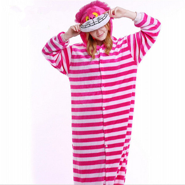 Winter Unisex Adult Men Women Pajamas Costumes Animal Onesie Sleepwear Stitch Zebra Panda Totoro Bear Bat Unicorn Pig Dinosaur-hipnfly-Cheshire Cat-S-hipnfly