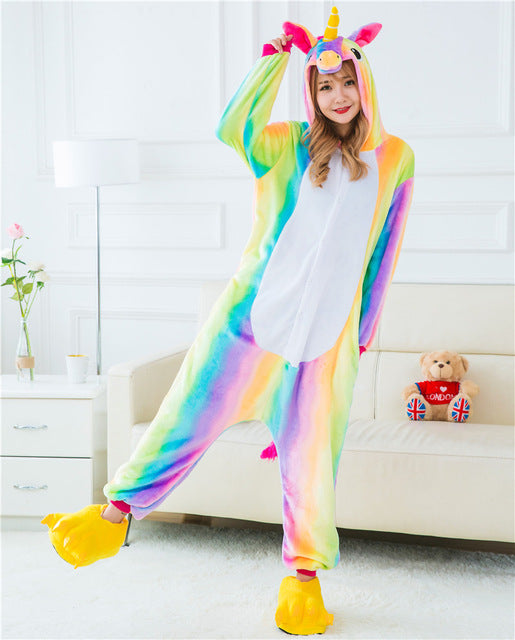 Winter Unisex Adult Men Women Pajamas Costumes Animal Onesie Sleepwear Stitch Zebra Panda Totoro Bear Bat Unicorn Pig Dinosaur-hipnfly-Raibow Unicorn 2-S-hipnfly
