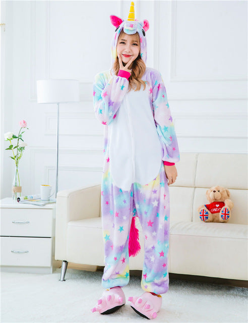 Winter Unisex Adult Men Women Pajamas Costumes Animal Onesie Sleepwear Stitch Zebra Panda Totoro Bear Bat Unicorn Pig Dinosaur-hipnfly-hipnfly