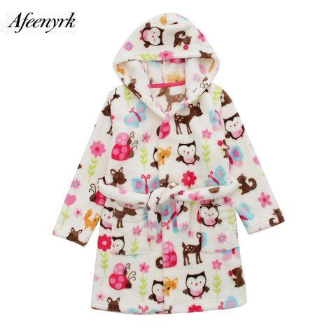 Autumn Winter Baby Flannel Robe Bathrobes Kids Cartoon Sleepwear Hooded Baby Robes Boys Girls Pajamas Thickening Home Clothing