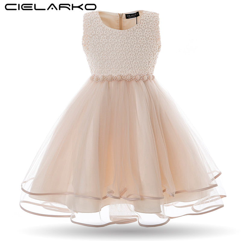 Cielarko Girls Dress Mesh Pearls Children Wedding Party Dresses Kids Evening Ball Gowns Formal Baby Frocks Clothes for Girl-hipnfly-hipnfly