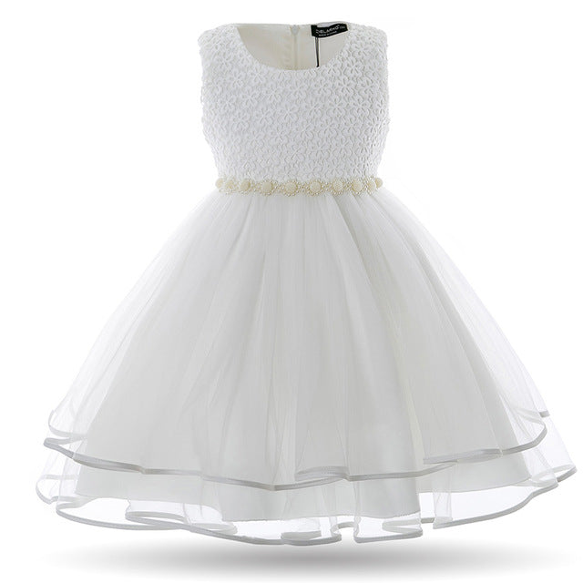 Cielarko Girls Dress Mesh Pearls Children Wedding Party Dresses Kids Evening Ball Gowns Formal Baby Frocks Clothes for Girl