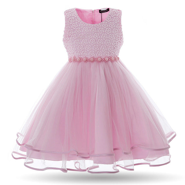 Cielarko Girls Dress Mesh Pearls Children Wedding Party Dresses Kids Evening Ball Gowns Formal Baby Frocks Clothes for Girl-hipnfly-Pink-3T-China-hipnfly