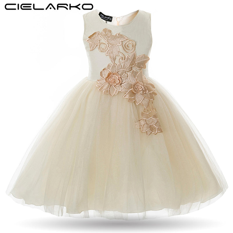 Cielarko Girls Dress Appliques Flower Wedding Party Baby Dresses Mesh Evening Prom Ball Gowns Children Frocks Vestidos for Girl-hipnfly-hipnfly