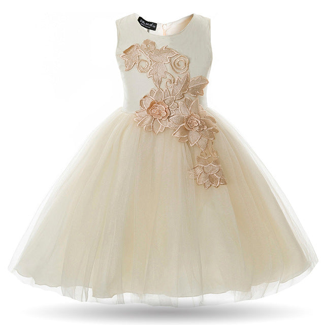 Cielarko Girls Dress Appliques Flower Wedding Party Baby Dresses Mesh Evening Prom Ball Gowns Children Frocks Vestidos for Girl