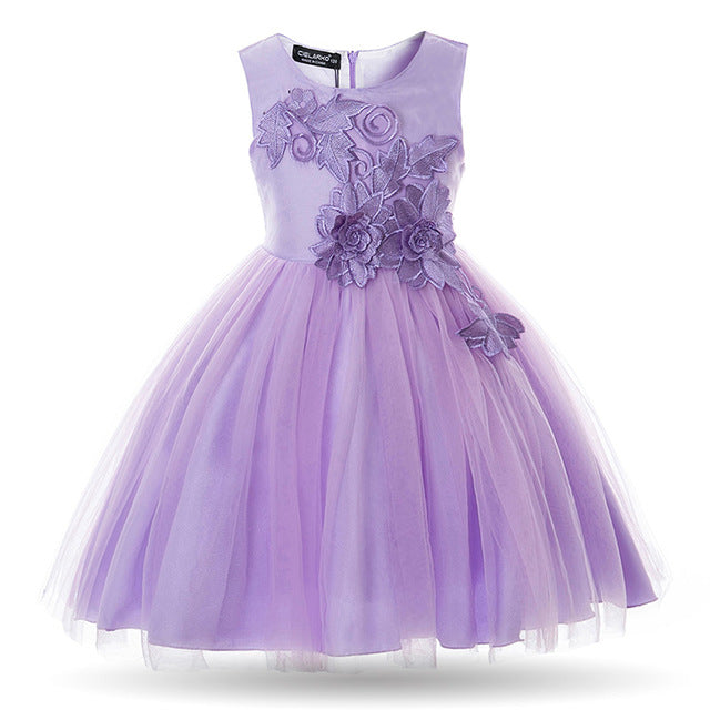 Cielarko Girls Dress Appliques Flower Wedding Party Baby Dresses Mesh Evening Prom Ball Gowns Children Frocks Vestidos for Girl-hipnfly-Purple-3T-China-hipnfly