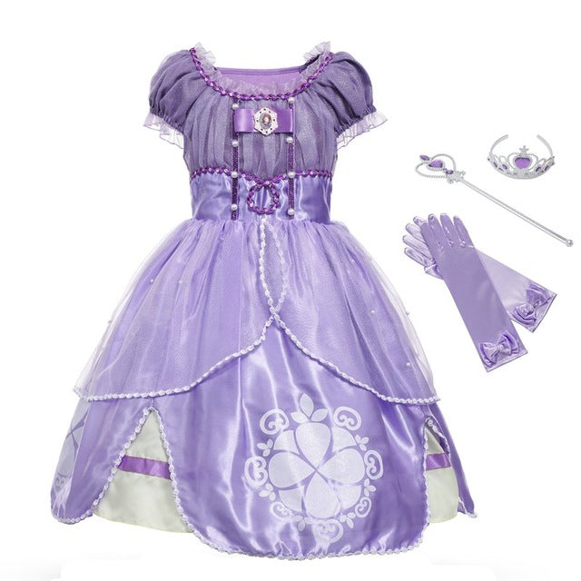 MUABABY Princess Summer Dresses Girls Sofia Cosplay Costume 5 Layers Children Kids Halloween Birthday Party Tutu Dresses Fantasy-hipnfly-Sofia 01 Set-3T-hipnfly