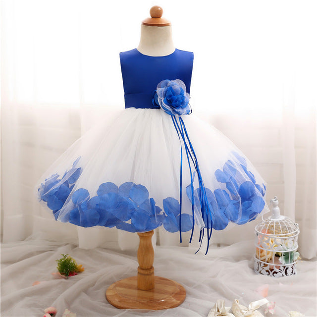 Baby Girl 1 Year Birthday Dress Petals Tulle Toddler Girl Christening Dress Infant Princess Party Dresses For Girls 2T