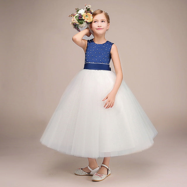Flower Girl Long Dress Christmas Party Wear Kids Clothes Party Dresses For Girl Frocks Children's Costume Teenage Girl Ceremony
