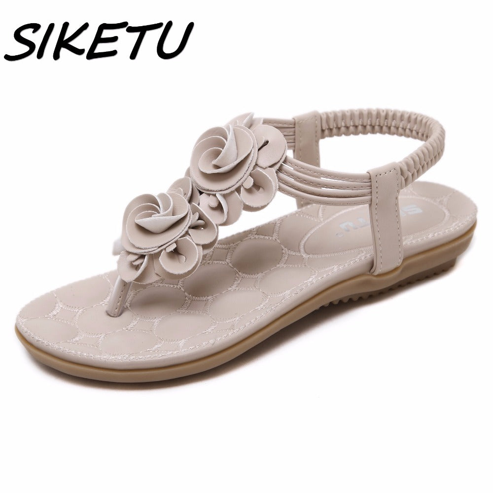 SIKETU New Women Summer Casual Bohemia Flat Sandals Shoes Woman Flower Flip flop Sweet Beach Sandals Shoes Size 35-41-cute summer ftat sandals-hipnfly-hipnfly