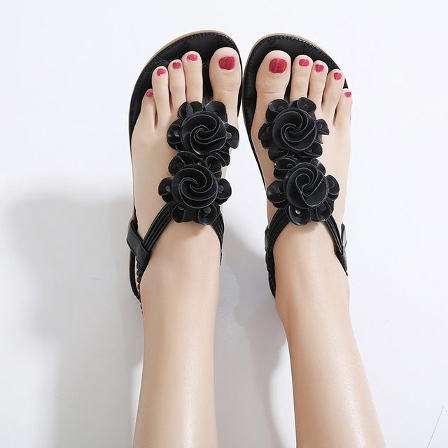 SIKETU New Women Summer Casual Bohemia Flat Sandals Shoes Woman Flower Flip flop Sweet Beach Sandals Shoes Size 35-41-cute summer ftat sandals-hipnfly-Black-5-hipnfly