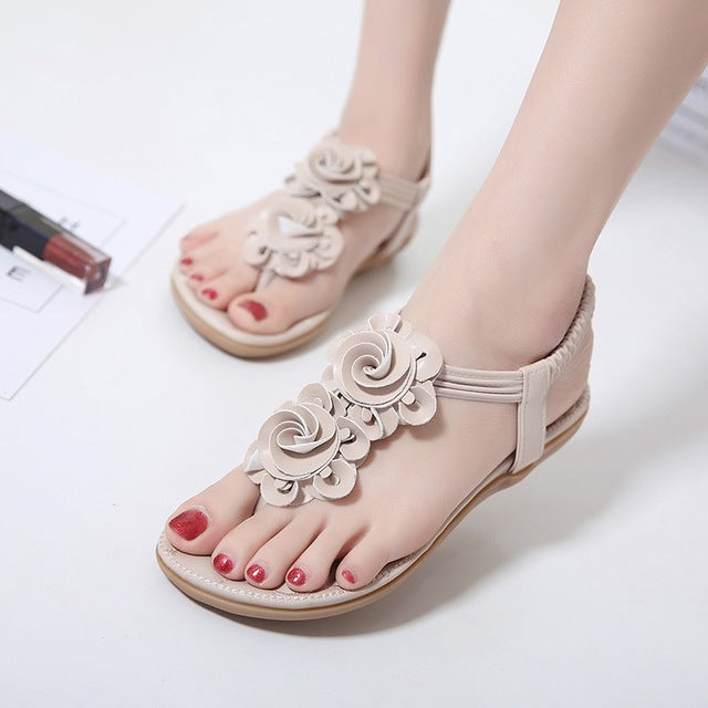SIKETU New Women Summer Casual Bohemia Flat Sandals Shoes Woman Flower Flip flop Sweet Beach Sandals Shoes Size 35-41-cute summer ftat sandals-hipnfly-Khaki-5-hipnfly