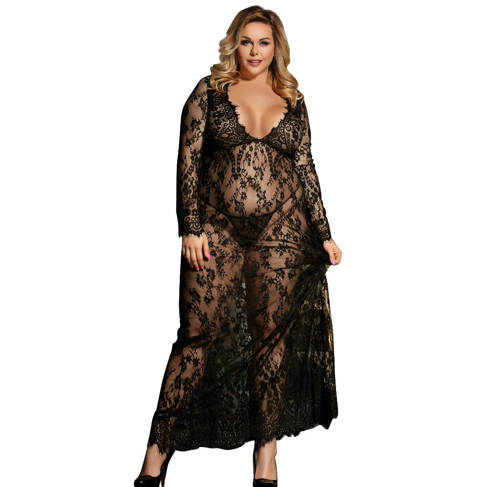 Sexy Dress Erotic Long Sleeve Sexy Costumes Babydoll Woman Long Transparent Sexy Lace Lingerie Plus Size Erotic Clothing R80497-hipnfly-hipnfly