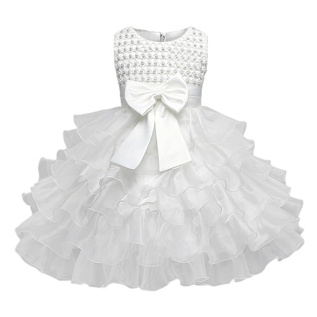 Multi-Tiered Evening Ball Gown Big Bowknot Decoration Dress For Newborn Baby Girls 2018 Summer Baptism Cake Dresses For Infants-hipnfly-White-6M-hipnfly