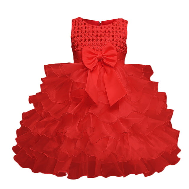 Multi-Tiered Evening Ball Gown Big Bowknot Decoration Dress For Newborn Baby Girls 2018 Summer Baptism Cake Dresses For Infants-hipnfly-Red-6M-hipnfly