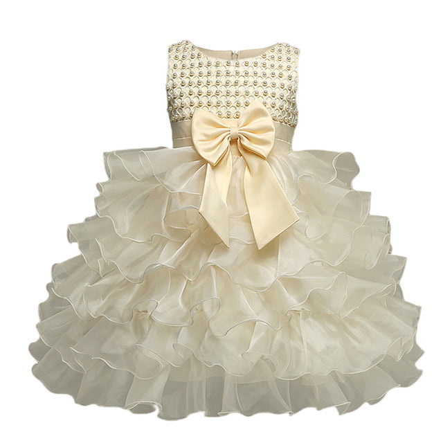 Multi-Tiered Evening Ball Gown Big Bowknot Decoration Dress For Newborn Baby Girls 2018 Summer Baptism Cake Dresses For Infants-hipnfly-Yellow-6M-hipnfly