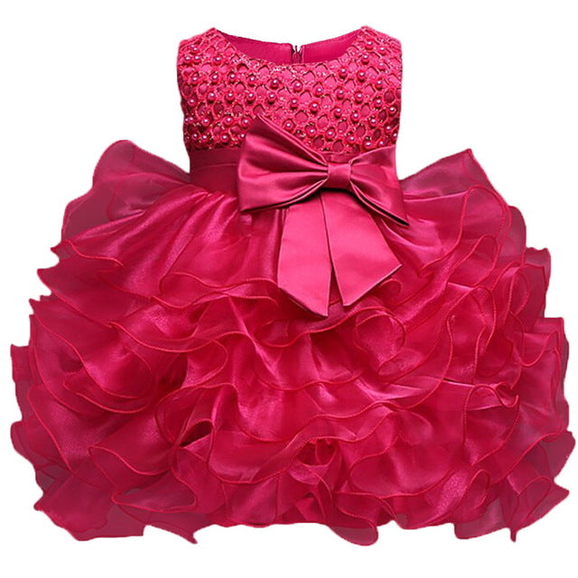 Multi-Tiered Evening Ball Gown Big Bowknot Decoration Dress For Newborn Baby Girls 2018 Summer Baptism Cake Dresses For Infants-hipnfly-Rose-6M-hipnfly