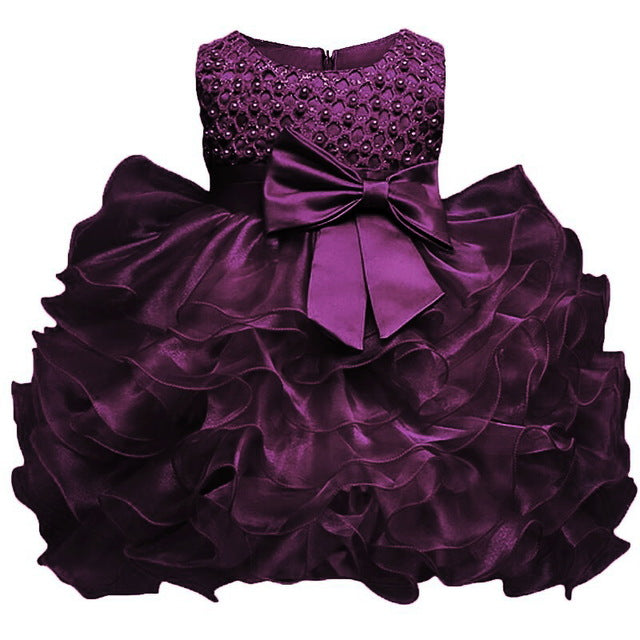 Multi-Tiered Evening Ball Gown Big Bowknot Decoration Dress For Newborn Baby Girls 2018 Summer Baptism Cake Dresses For Infants-hipnfly-Purple-6M-hipnfly