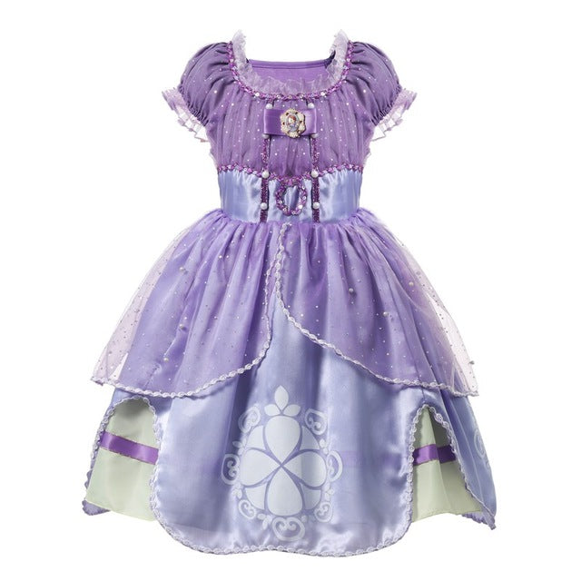 MUABABY Princess Summer Dresses Girls Sofia Cosplay Costume 5 Layers Children Kids Halloween Birthday Party Tutu Dresses Fantasy-hipnfly-Sofia 02-3T-hipnfly