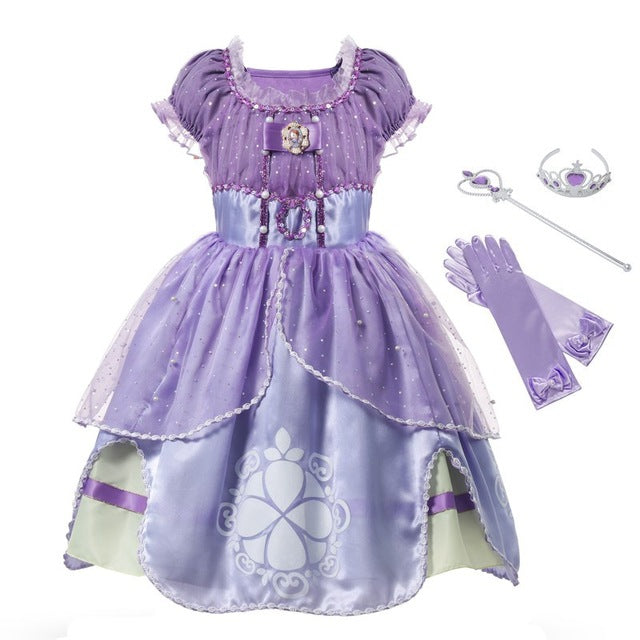 MUABABY Princess Summer Dresses Girls Sofia Cosplay Costume 5 Layers Children Kids Halloween Birthday Party Tutu Dresses Fantasy-hipnfly-Sofia 02 Set-3T-hipnfly