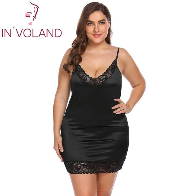 IN'VOLAND Plus Size Women Sleepwear Sexy Lingerie Dress XL-5XL Robe Night Dress Lace Stretchy Satin Babydoll Chemise Nightgown-hipnfly-Black-XL-China-hipnfly
