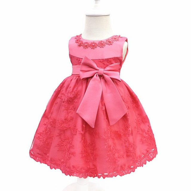 Baby Girls Dress For Party Princess Dresses Infant Christening Gown 1 Year Birthday Dress Christmas Baby Girls Clothing 4ds100-hipnfly-RoseRed-12M-hipnfly
