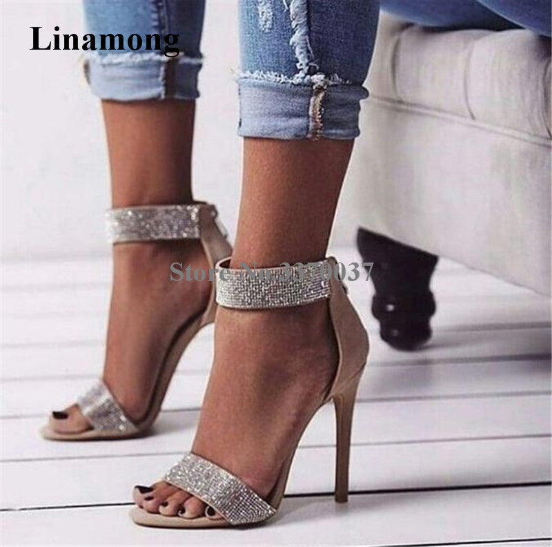 Women Luxury Ankle Wrap Rhinestone One Strap High Heel Sandals Bling Crystal Thin Heel Gladiator Sandals Pink Wedding Shoes-ankle wrap high heel sandals-hipnfly-hipnfly