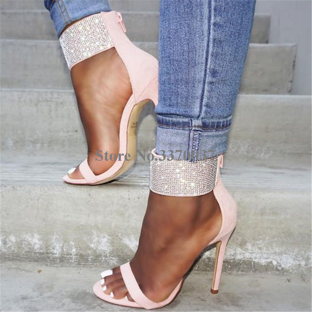Women Luxury Ankle Wrap Rhinestone One Strap High Heel Sandals Bling Crystal Thin Heel Gladiator Sandals Pink Wedding Shoes-ankle wrap high heel sandals-hipnfly-as picture 1-5-hipnfly