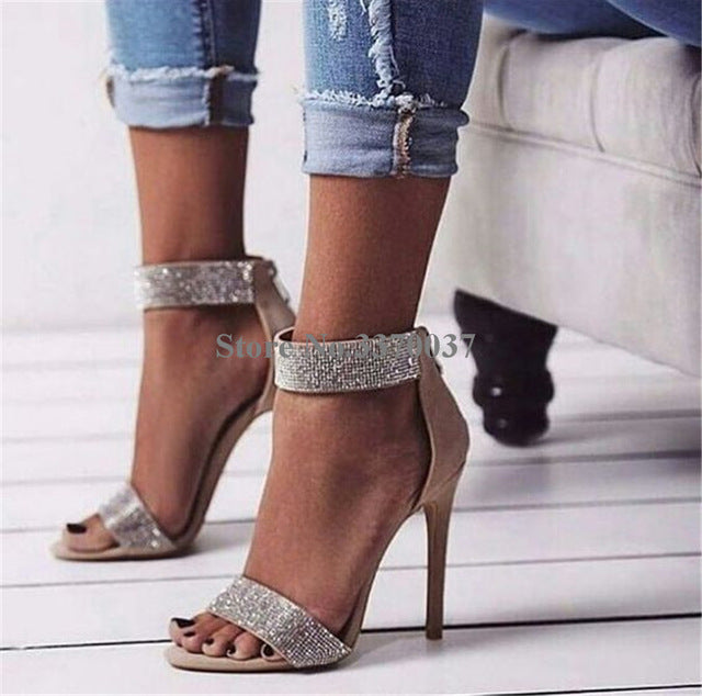 Women Luxury Ankle Wrap Rhinestone One Strap High Heel Sandals Bling Crystal Thin Heel Gladiator Sandals Pink Wedding Shoes-ankle wrap high heel sandals-hipnfly-as picture-5-hipnfly