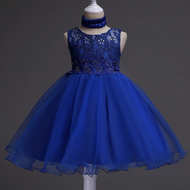 Girls Wedding Dress 2018 Sleeveless Carnaval Teenager Summer Tutu Dresses For Girls Clothes Vestidos Kids Costume Children Dress-hipnfly-Navy blue-5-hipnfly