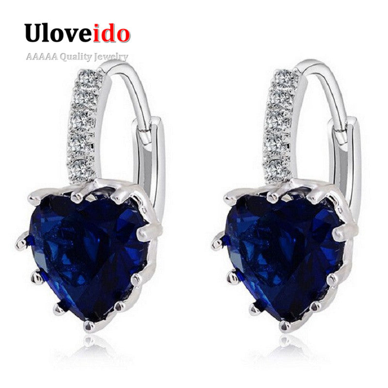 Uloveido Silver Color Hanging Crystal Long Fashion Dropping Blue Heart Zircon Earrings for Women Rhinestone Brincos-hipnfly-hipnfly