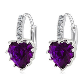 Uloveido Silver Color Hanging Crystal Long Fashion Dropping Blue Heart Zircon Earrings for Women Rhinestone Brincos-hipnfly-platinum purple-hipnfly