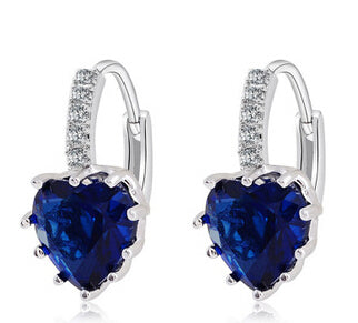 Uloveido Silver Color Hanging Crystal Long Fashion Dropping Blue Heart Zircon Earrings for Women Rhinestone Brincos 2017 BME131