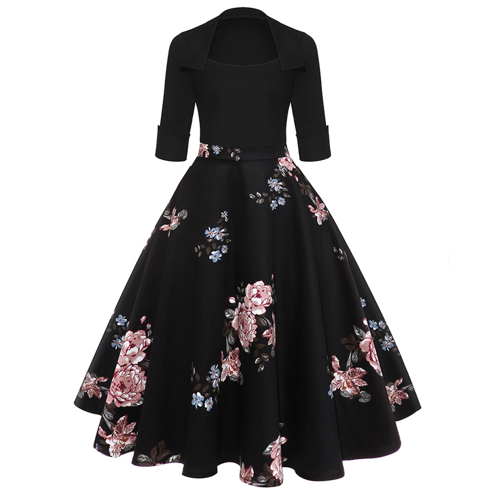 ZAFUL Women Party Dress New Year Hepburn Vintage Rockabilly Robe Female Floral 3/4 Sleeves Swing Midi Dress Vestidos Mujer 2XL-hipnfly-hipnfly