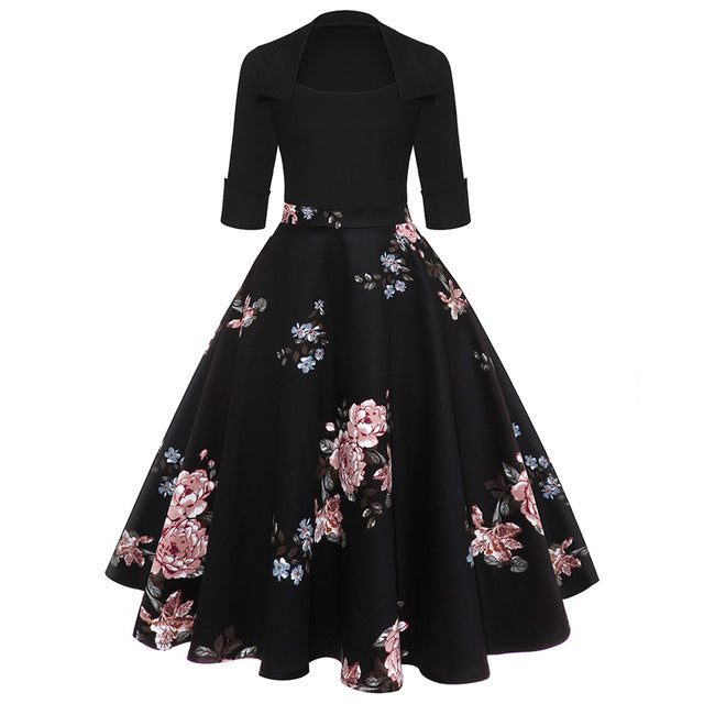 ZAFUL Women Party Dress New Year Hepburn Vintage Rockabilly Robe Female Floral 3/4 Sleeves Swing Midi Dress Vestidos Mujer 2XL-hipnfly-Pink-S-hipnfly