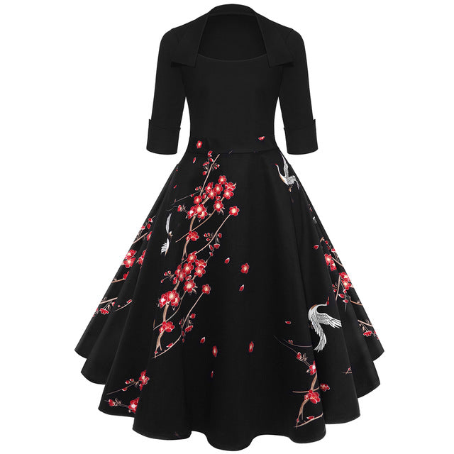 ZAFUL Women Party Dress New Year Hepburn Vintage Rockabilly Robe Female Floral 3/4 Sleeves Swing Midi Dress Vestidos Mujer 2XL-hipnfly-Red-S-hipnfly