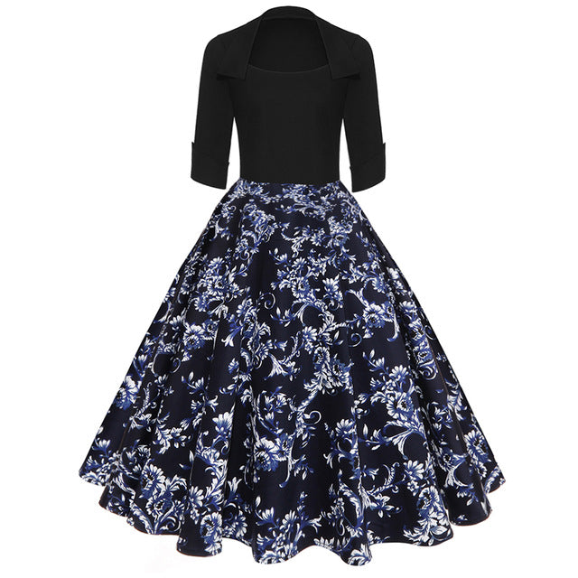 ZAFUL Women Party Dress New Year Hepburn Vintage Rockabilly Robe Female Floral 3/4 Sleeves Swing Midi Dress Vestidos Mujer 2XL-hipnfly-Black Blue-S-hipnfly