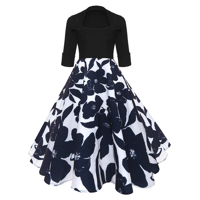 ZAFUL Women Party Dress New Year Hepburn Vintage Rockabilly Robe Female Floral 3/4 Sleeves Swing Midi Dress Vestidos Mujer 2XL-hipnfly-Blue And White-S-hipnfly
