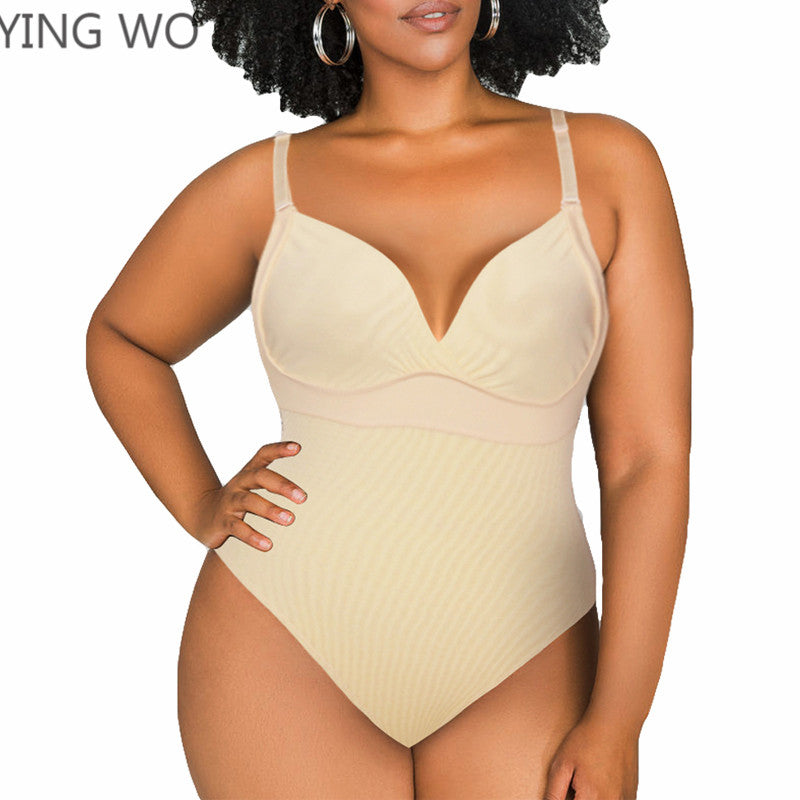 Beige/Black Plus Size Body Thong Shaper Hook-Up Slimming Adjustable Straps Compression Bodysuit Tummy Trimmer Butt Lifter 5XL