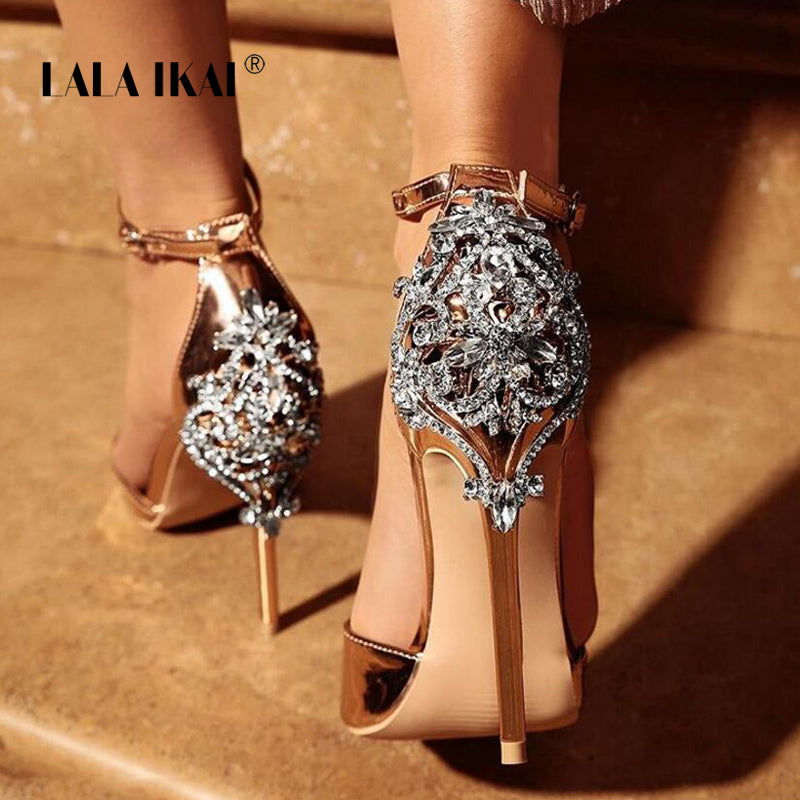 Crystal Glitter Sandals Pump 2018 High Heels 11CM Sandals Lady Chic Cover Heel Party Sexy Shoes