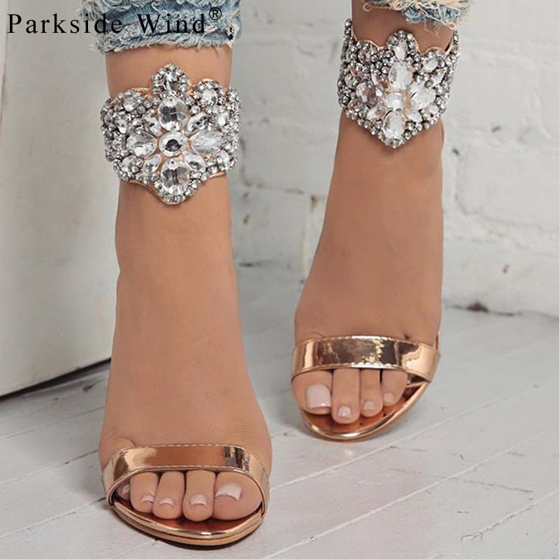 Parkside Wind Gladiator Women Sandals Crystal Flock Thin High Heels Shoes Fashion Summer Rhinestone Party Ladies PumpsXWC1068-45-hipnfly-hipnfly