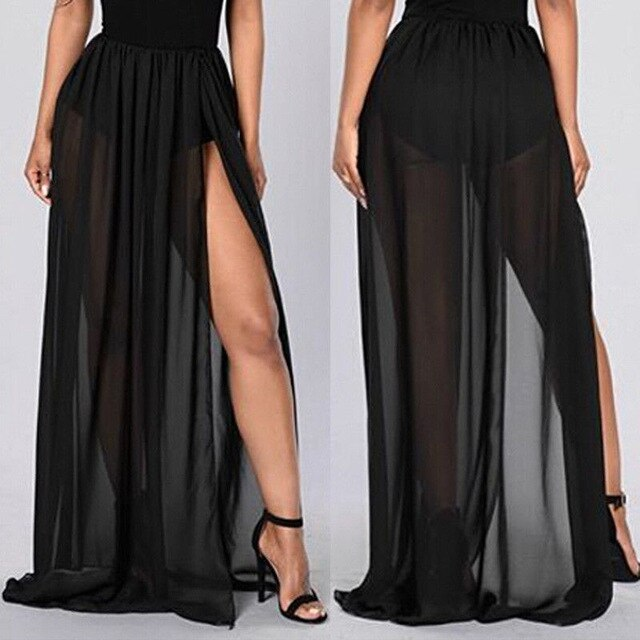 Women High Waist Empire See Through Sheer Side Split Skirt Black Solid Transparent Chiffon Pleated Maxi Long Skirt Summer Hot-hipnfly-hipnfly