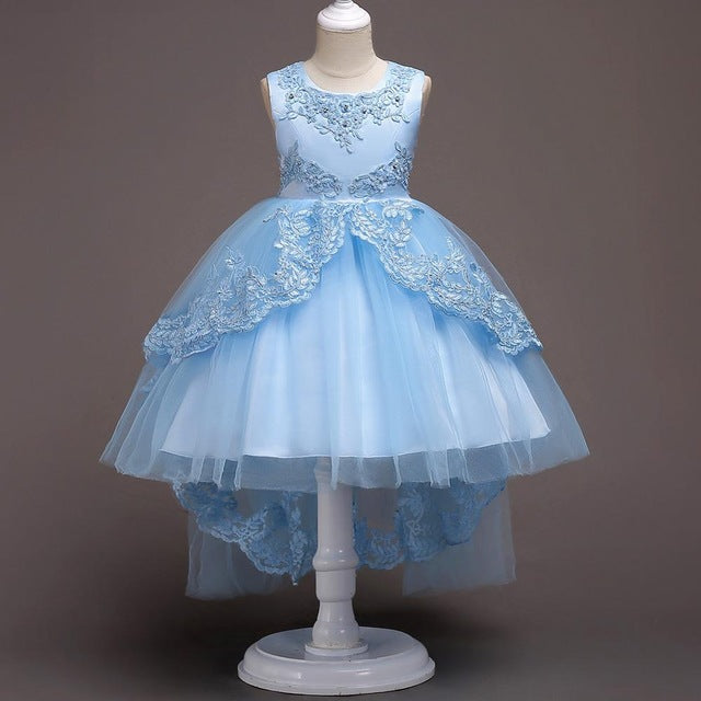 New Brand Flower Girls Dress Kids Princess Party Wedding Gowns for Children Graduation Ceremony Baby Kids Long Tail Formal Wear-hipnfly-Color 2-4T-hipnfly