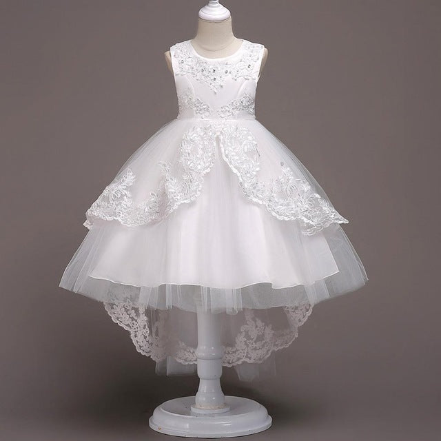 New Brand Flower Girls Dress Kids Princess Party Wedding Gowns for Children Graduation Ceremony Baby Kids Long Tail Formal Wear-hipnfly-Color 3-4T-hipnfly