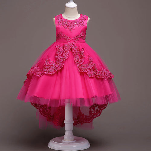 New Brand Flower Girls Dress Kids Princess Party Wedding Gowns for Children Graduation Ceremony Baby Kids Long Tail Formal Wear-hipnfly-Color 5-4T-hipnfly