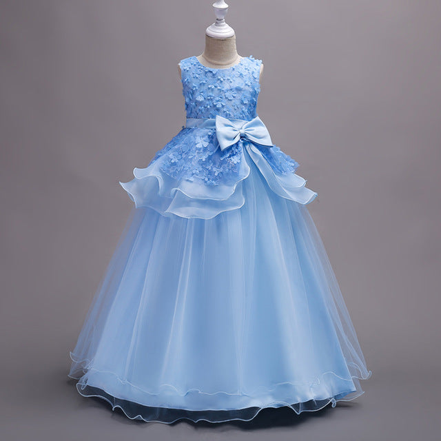 KEAIYOUHUO Summer Kids Dresses For Girls Clothes Princess Girls Wedding Dress Party Teenagers Dresses Vestidos Children Clothing